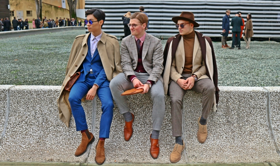 フィレンツェ、ピッティ・ウオモでの男性たち