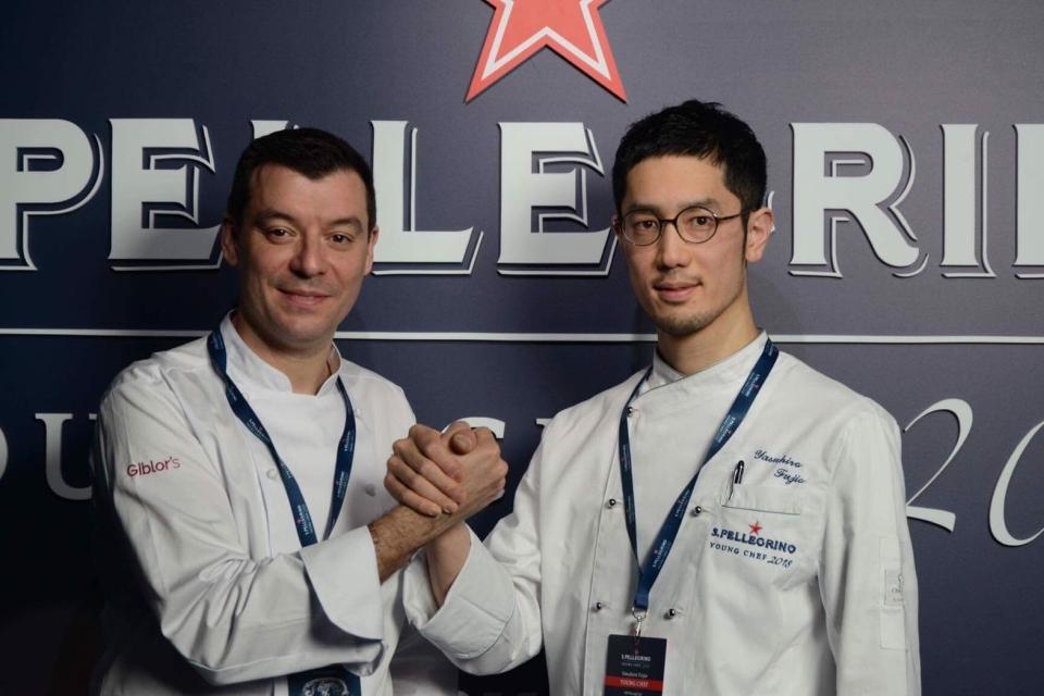 藤尾さんと、藤尾さんのメンターシェフを務めた「ブルガリ イル・リストランテ ルカ・ファンティン」のルカ・ファンティンさん