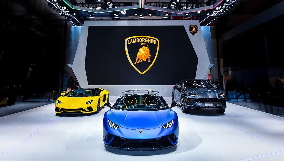 3モデルすべてが展示されたランボルギーニ