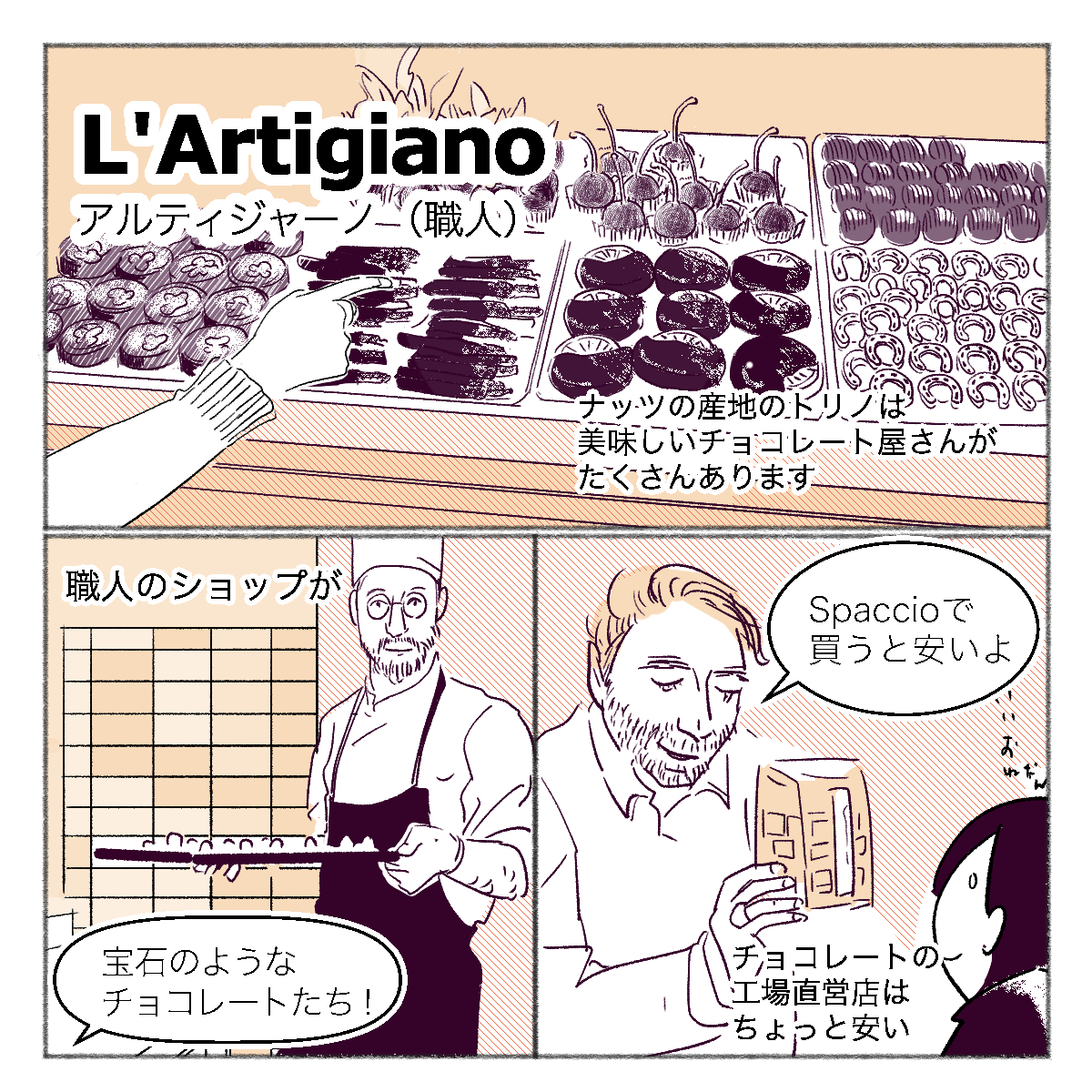 トリノには名産のナッツを使った美味しいチョコレートのお店がたくさんあります