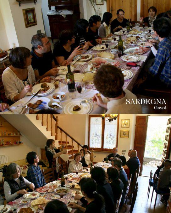 サルディーニャ島を生徒さんと訪れた際、地元のご家庭でランチをいただく