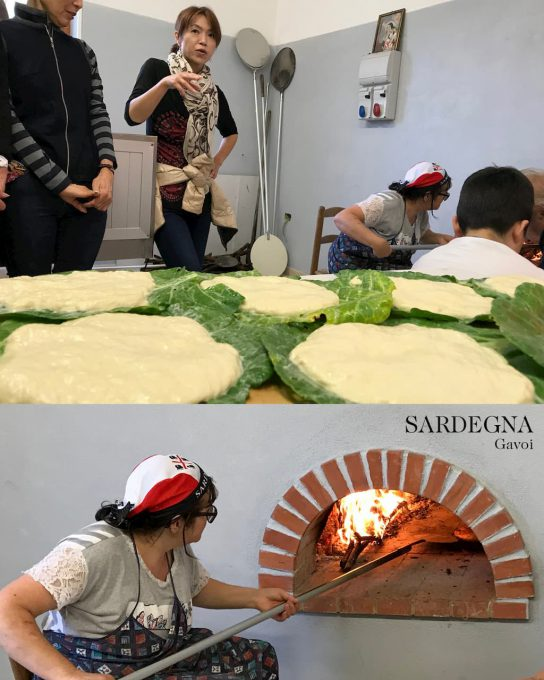 サルディーニャでは窯でCohone un fozza(1700年代の葉で包むパン)を作る
