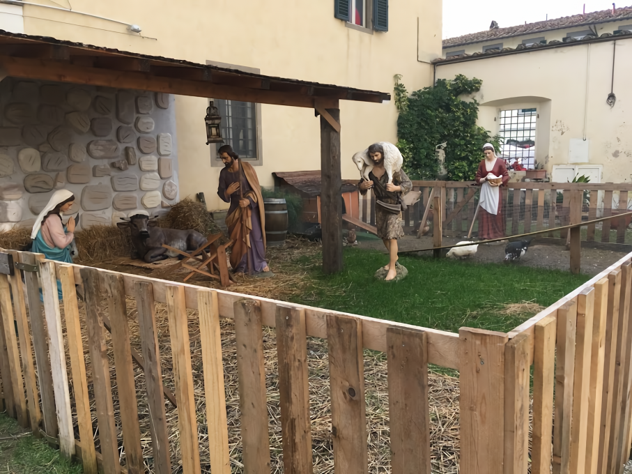 フィレンツェのプレゼピオ。動物は本物です