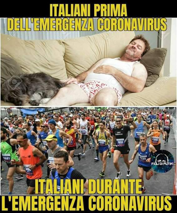 「上)新型コロナウィルス以前のイタリア人。下)新型コロナウィルスの緊急事態中のイタリア人」。命令と反対のことをしたがるイタリア人の性格を表したジョーク。>