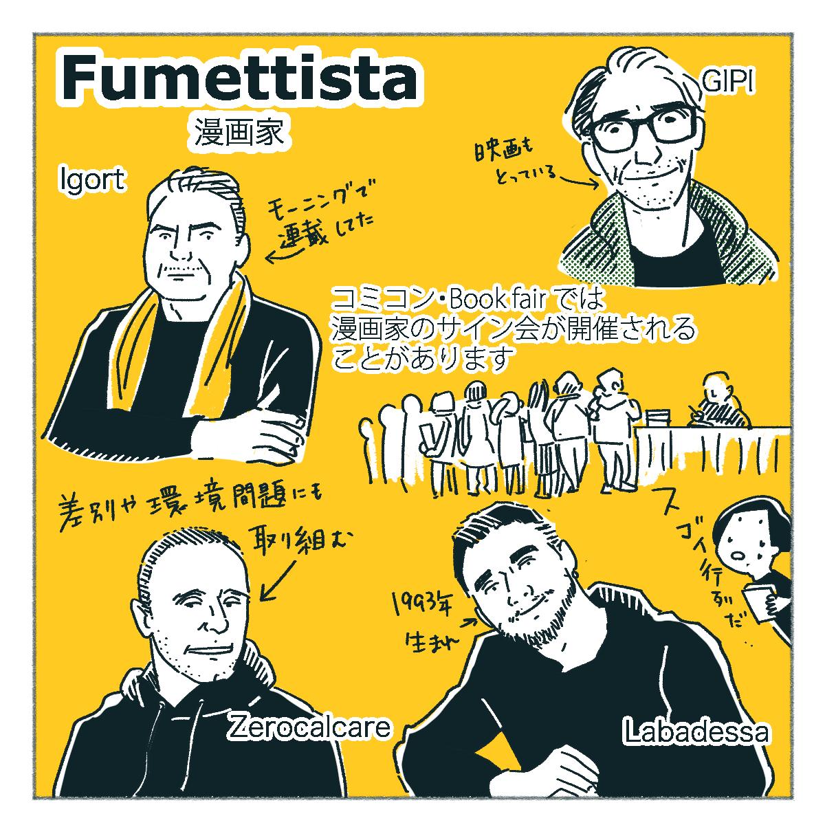 イタリアの漫画家について説明したイラスト