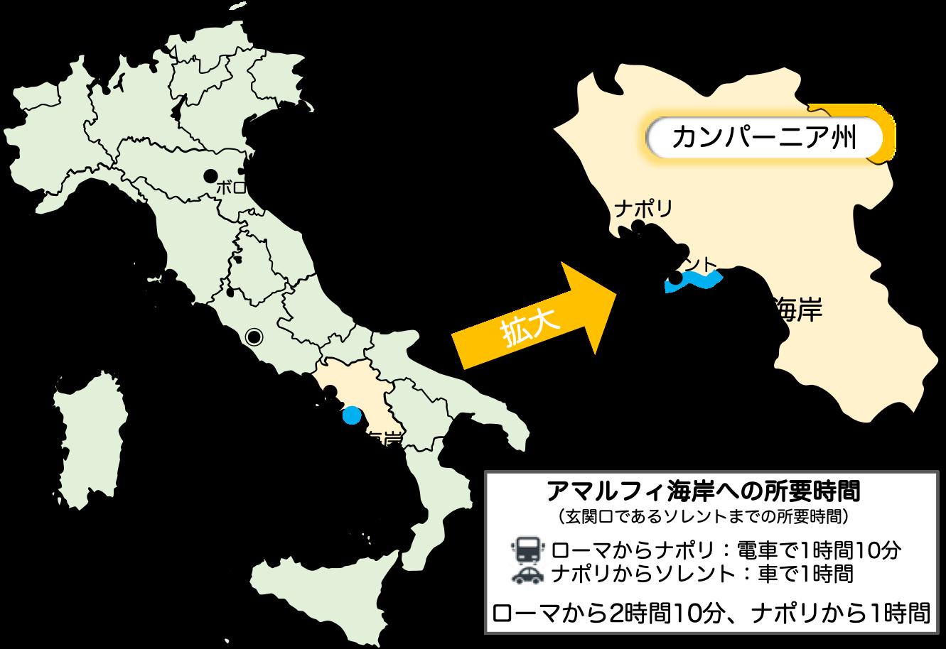 アマルフィ海岸の地図