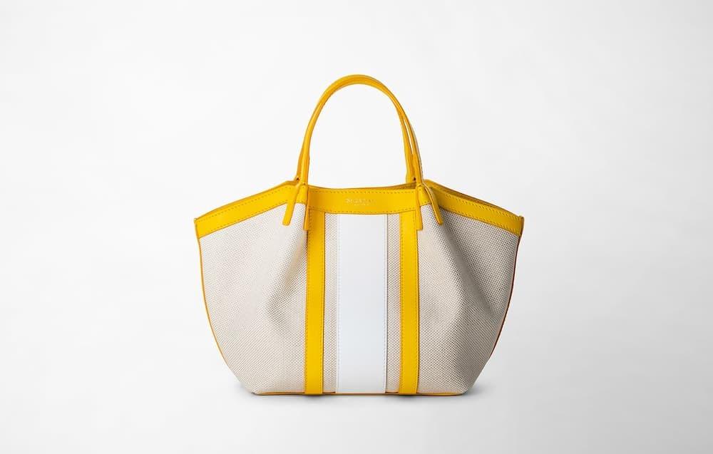 黄色と白いミニトートバッグ