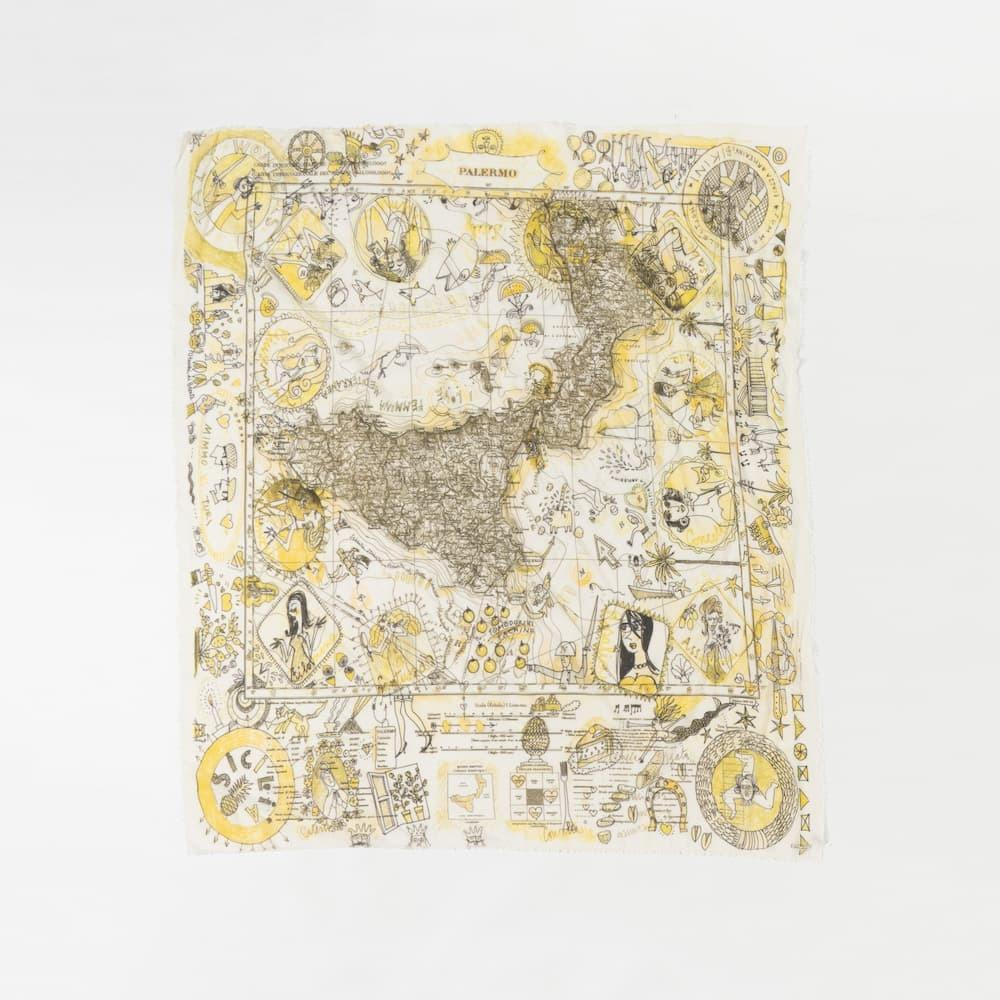 シチリアの地図模様のストール