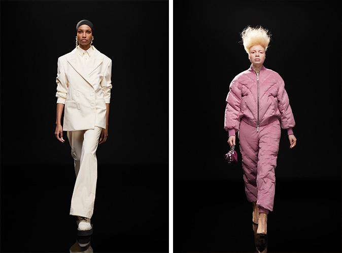 白いレディズスーツを着ているモデルとピンクジャンプスーツを着ているモデル