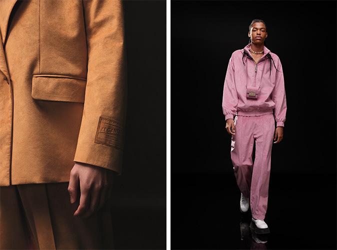 茶色スーツの詳細と男性用のピンクジャージを着ているモデル