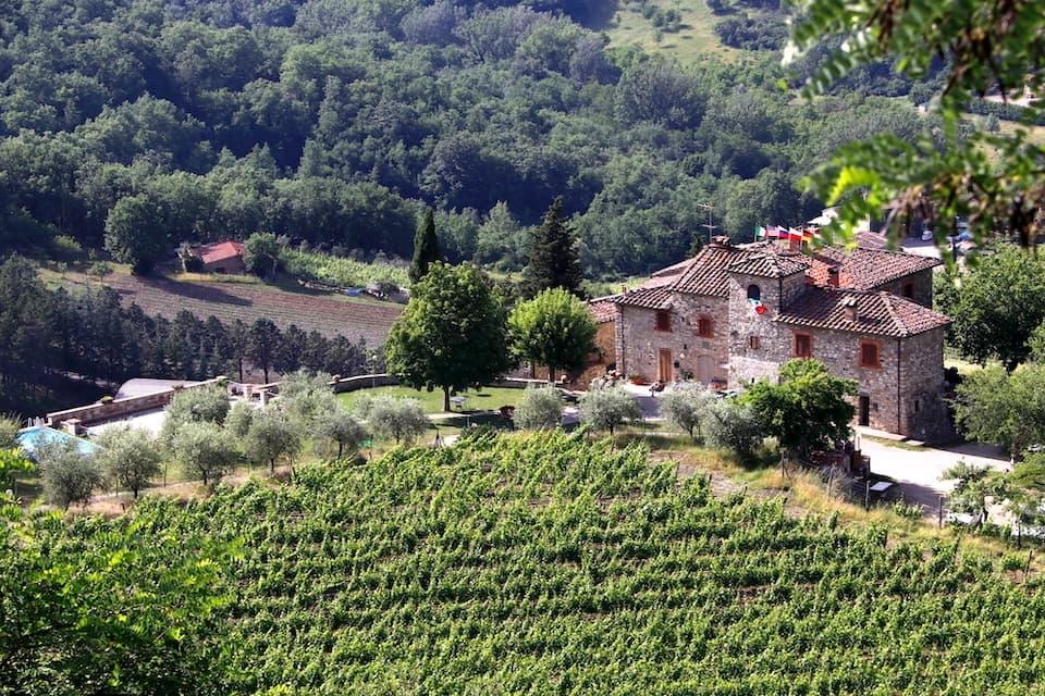 キャンティ地方はイタリア屈指のワイン生産地。参加者はどこまでも続くブドウ畑を一望しながら操縦しました