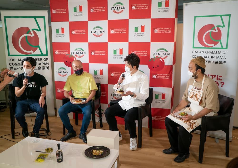 パネルディスカッションでイタリア料理への愛を語るシェフたち。