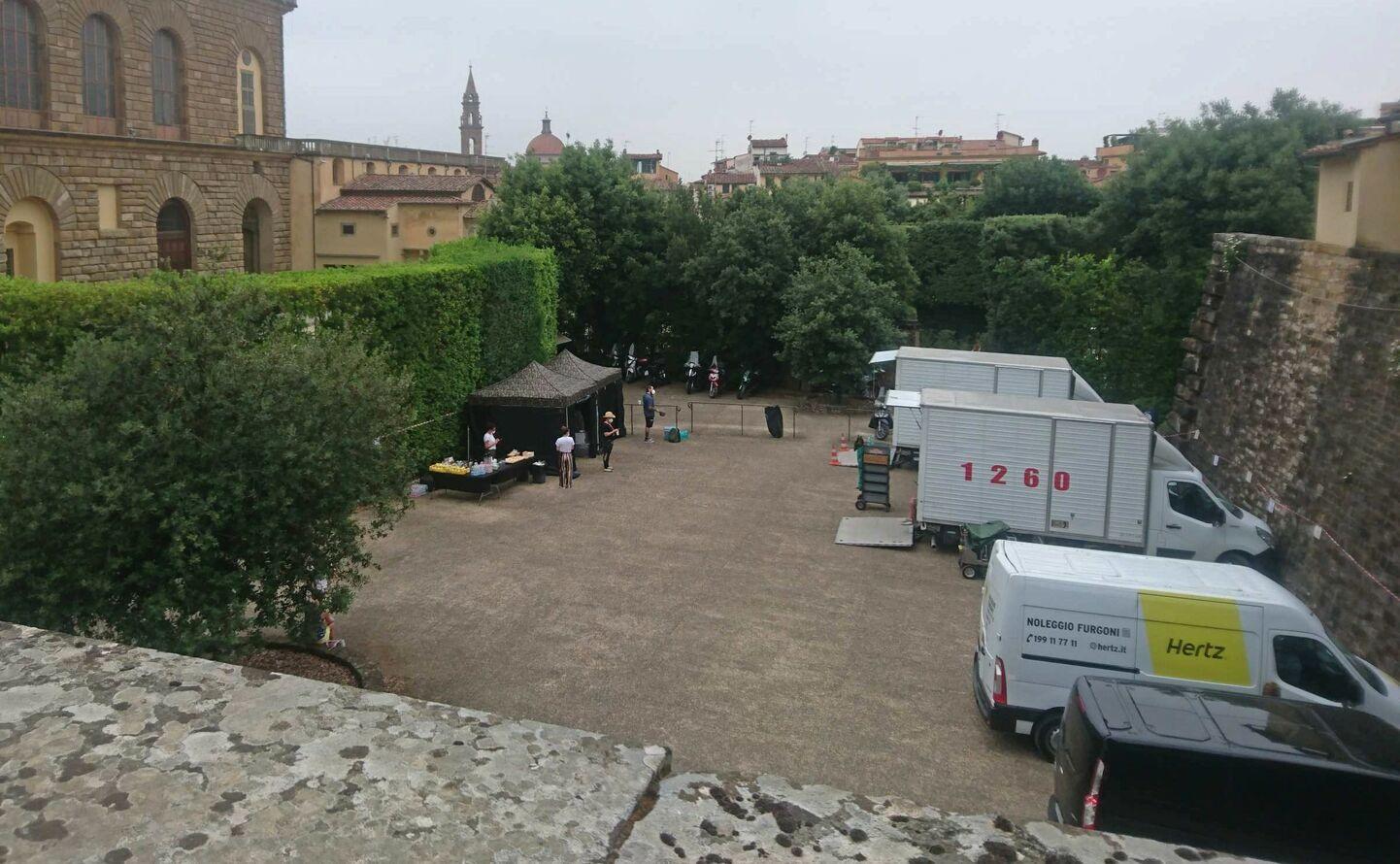 映画の撮影現場、フィレンツェで撮影