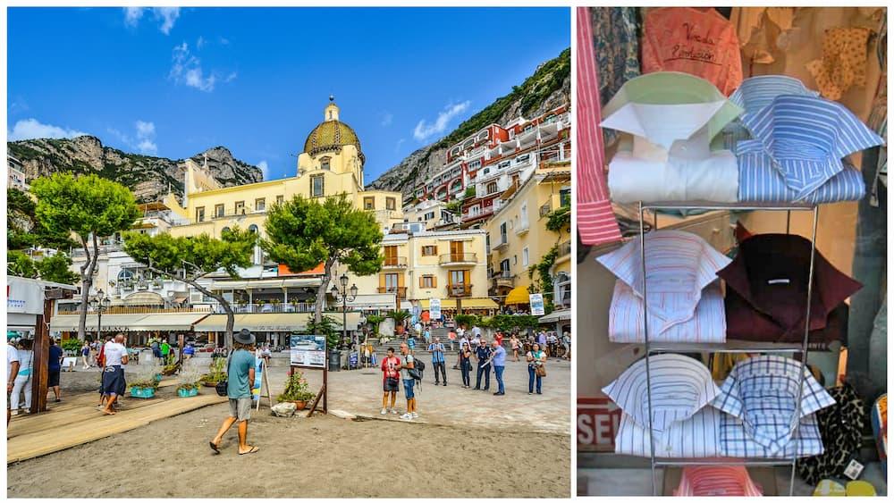 左: マリーナ・グランデから見るサンタ・マリア・アッスンタ教会、右: ポジターノ名物のシャツ(撮影:須飼真理)