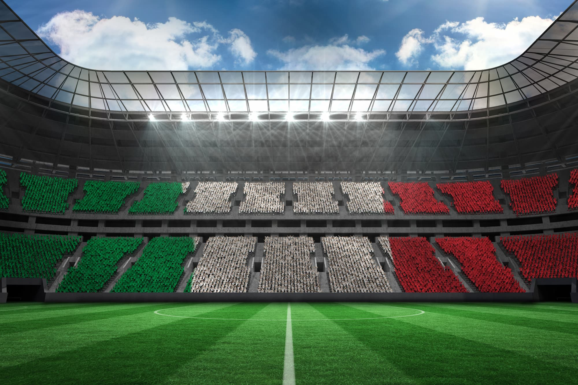イタリア国旗カラーに染まったスタジアム