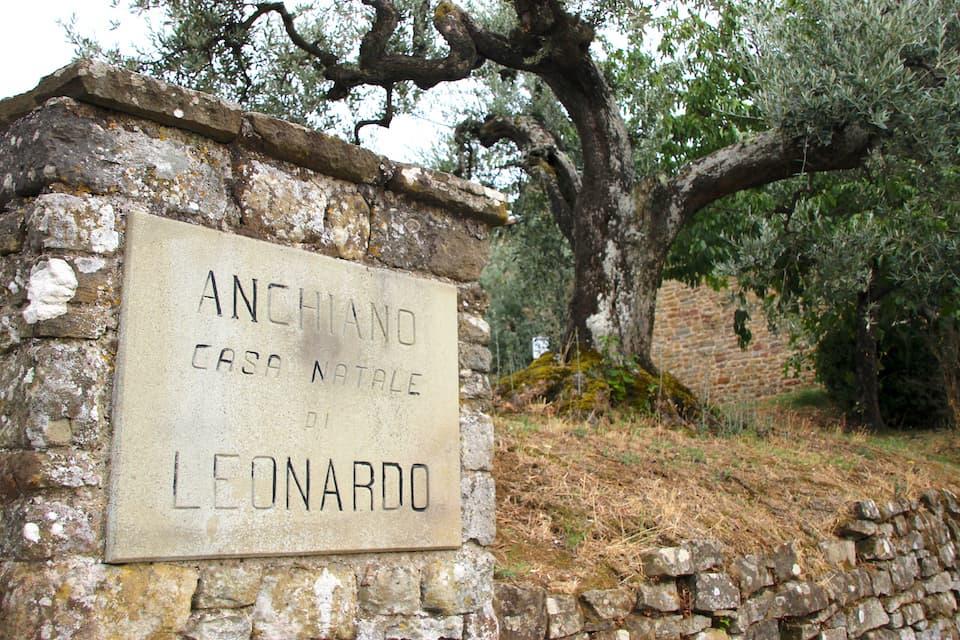 ヴィンチ村から3kmほど離れたアンキアーノにあるレオナルドの生家入口。