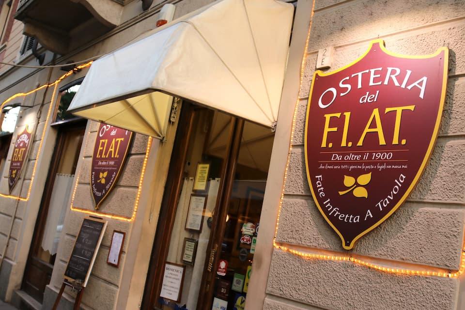 旧フィアット工場社屋を改装した商業施設「リンゴット」の向かいにある食堂。店名のF.I.AT.とは、早くテーブルについて!のイタリア語を略したものです。
